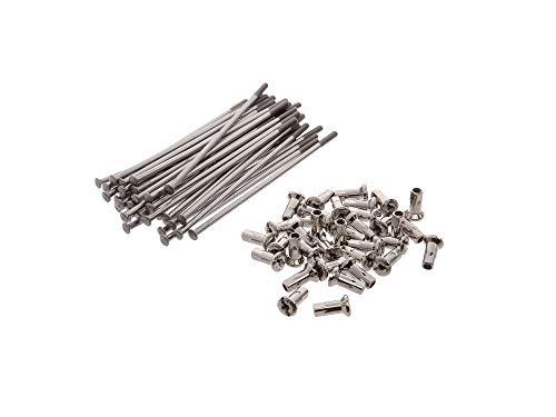 Kit de rayons avec mamelon – par 36 pièces – en acier inoxydable M4–121 mm de rayon, naturel, droite – par exemple pour ETZ 125, 150