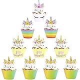 Liuer 48PCS Decorazione Torta Kit Festa Compleanno Unicorno Cupcake Topper Wrapper Decorazioni Utensili Pasticceria Accessori Kit per Ragazzi Bambini (Unicorno)