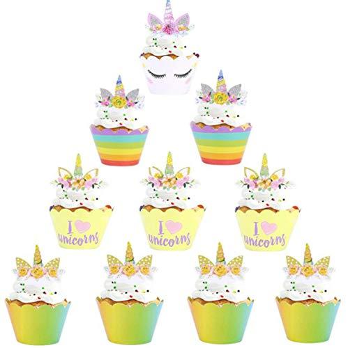 Liuer 48PCS Unicornio Cumpleaños Tarta Decoración Cake Toppers de Tarta Magdalenas Decoraciones Pasteleria y Reposteria Decoracion para Niños niñas Regalo (Unicornio)