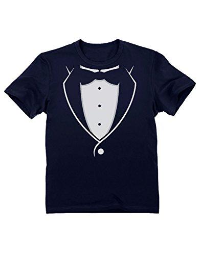 Green Turtle T-Shirts Camiseta para niños -Camiseta Negra con Tuxedo Corbatin Esmoquin Estampado Ropa Niño Fiesta Boda 3/4 Años 104cm Azul Oscuro