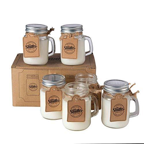 Smith's Mason Jars Barattolo di candela di soia profumata al 100% con stoppino di cotone 6 profumi per rilassarsi - Per repellente per zanzare -26 ore di combustione