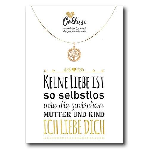 Geschenk für die Mutter - Geschenk für die Tochter - Kette Gold 18K Karat gelbgold echt vergoldet - Callissi Damen Schmuck - Grußkarte Karte mit Spruch Postkarte (Lebensbaum)