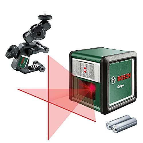 Bosch Quigo 3 - Nivel láser en cruz (2 pilas de 1.5 V AAA, pinza MM2, alcance: 10 m,...