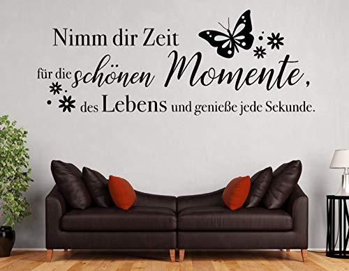 tjapalo® pk228 Wandtattoo nimm dir Zeit für die schönen Momente wandtattoo wohnzimmer spruch zitate Wandsticker Flur modern, Farbe: Schwarz, Größe: B58xH22cm