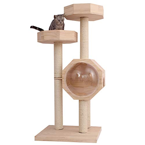 ZWW kat boom, kleine massief hout multi-layer kat klimmen toren spel activiteitencentrum met grijper kolom ruimte capsule box platform