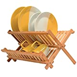 Bamboo Collapsible Dish Drying Rack - Wooden...