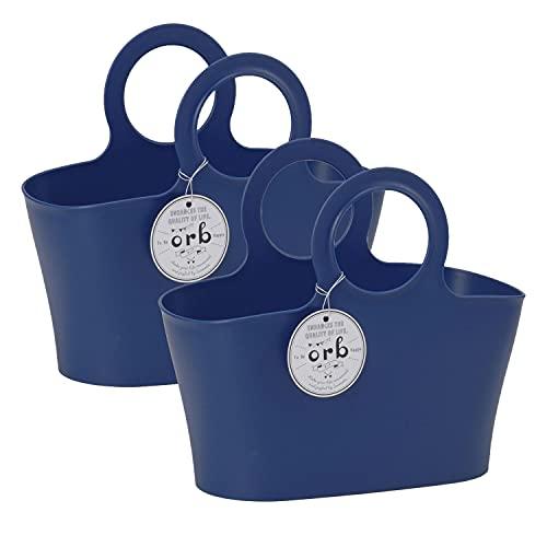 【2個セット】イノマタ化学 収納バスケット オーブ 5L ネイビー  かご カゴ 風呂 銭湯 入れ物 洗濯用品収納 掃除道具入れ 小物 収納 おもちゃ入れ 取っ手付き バッグ 持ち運べる ハンドル付き