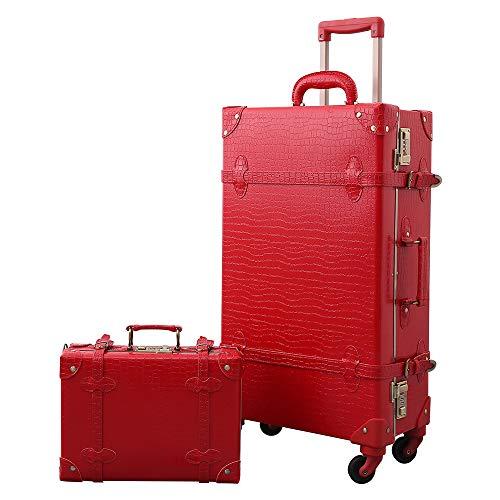 """Urecity スーツケースセット 超軽量 トランクケース アンティーク調 トランク おしゃれ かわいい キャリーバッグ 出張 修学旅行用 (レッドクロコダイルパターン, L(24"""" 49L)+SS(ハンドバックサイズ 10L))"""