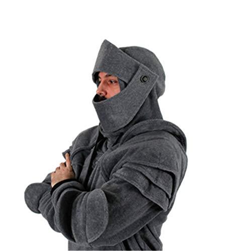 Herren Langarm Pullover Mann Junge warme Parka Trenchcoat Mode Retro Maske Elbow Button Mit Kapuze Sweatshirt Tops Bluse Moonuy