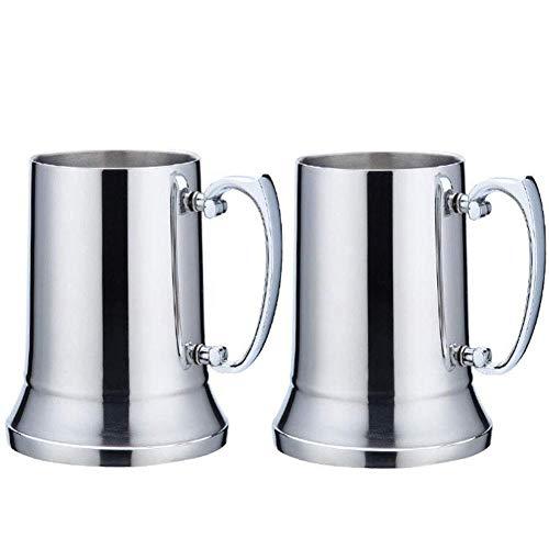 Kitchenmore Jarra de Acero Inoxidable, jarras de jarras de Cerveza, jarras Gigantes Jarra de Metal con Mango para Bodas, cumpleaños, jubilación, Trofeo Deportivo, Regalo de papá 450ML