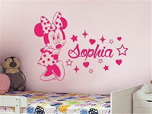 Kinder Wandaufkleber 3D Kunst Fototapete Cute Minnie Mouse Mit Benutzerdefinierten Personalisierten Babynamen Für Baby Kids Schlafzimmer Sweet Decor Für Kinderzimmer Kinderzimmer