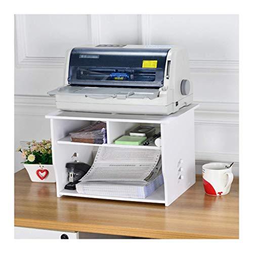 GAXQFEI Impresora Soportes Simple Modern Office Printer Estantería Amigable Amigable Wood-Plastic Tablero Desktop Finish Rack Multifuncional Storage Rack (Blanco) para la Oficina en Casa,Doble Capa