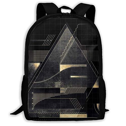 XCNGG Zusammensetzung der goldenen abstrakten Geometrie Schultasche Teenager Casual Sports Rucksack Männer Frauen Student Reisen Wandern Laptop Rucksack