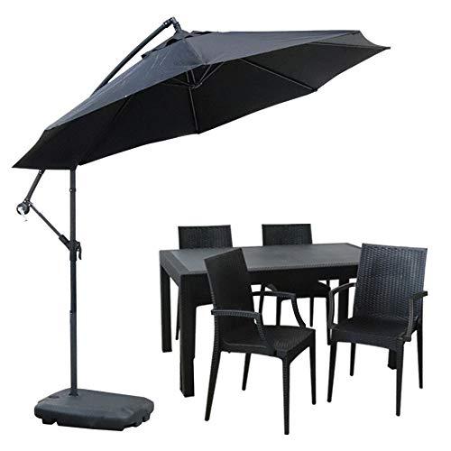 ガーデンテーブル90×150cm・チェア4脚・パラソルセット LA・TAN ひじ付き (C362-5C-S2)