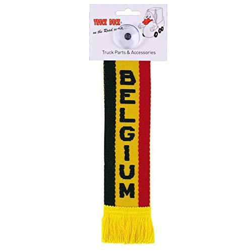 TRUCK DUCK® LKW Auto Minischal Belgium Belgien Mini Schal Wimpel Flagge Saugnapf Spiegel Deko