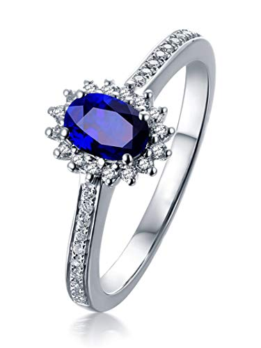 AYDOME Anniversary Rings for Her, 1.5ct Sapphire Oval with Round Diamond 18K White Gold Blue Women J 1/2