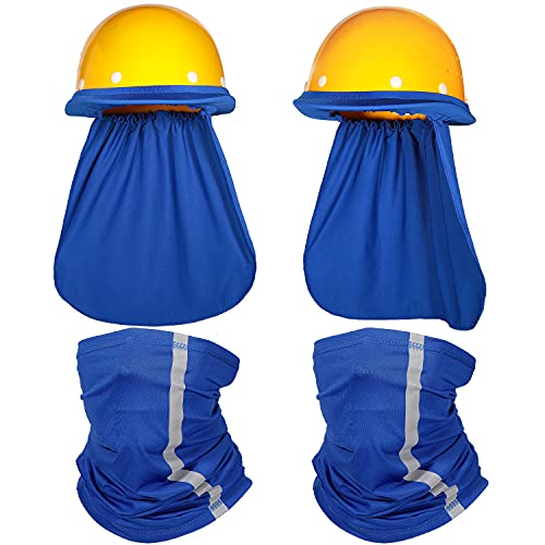 2 Pieces Hard Hat Sun Shade Neck Protection and 2 Pieces Visibility Reflective Neck Gaiters Sun Protection Balaclava Neck Scarf Bandana Headband for Fishing Hiking Cycling (Blue)