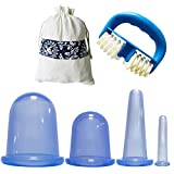 4 Cups Facial Cupping Set with Massage Roller SENREAL Silicone Cupping Therapy Kit Vacuum for Face Cupping Cups Facial Vacuum Massage Cup Kit for Muscle, Nerve, Joint Pain Relief (Blue)