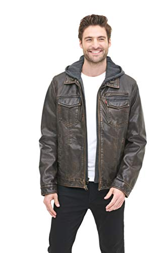Levi's Men's Faux Leather Trucker Hoody with Sherpa Lining (Regular and Big and Tall Sizes), Dark Brown, X-Large