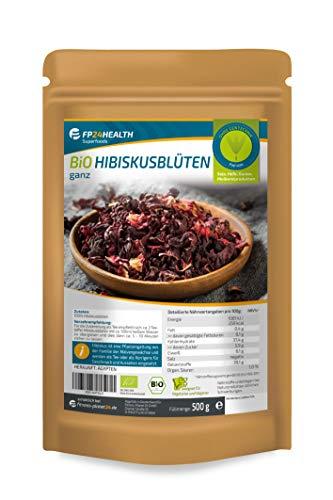 FP24 Health Bio Hibiskusblüten 500g - aus Ägypten - ökologischer Anbau - Hibiskusblütentee im Zippbeutel - Top Qualität