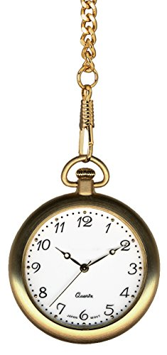 """Pedre Gold Tone Pocket Watch with 14"""" Chain and Engravable Wooden Display Stand, 8710GX"""