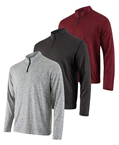 3er Pack: Herren Active Dry-Fit Quarter Zip Long Sleeve Outdoor Athletic Performance Pullover - Grau - Mittel