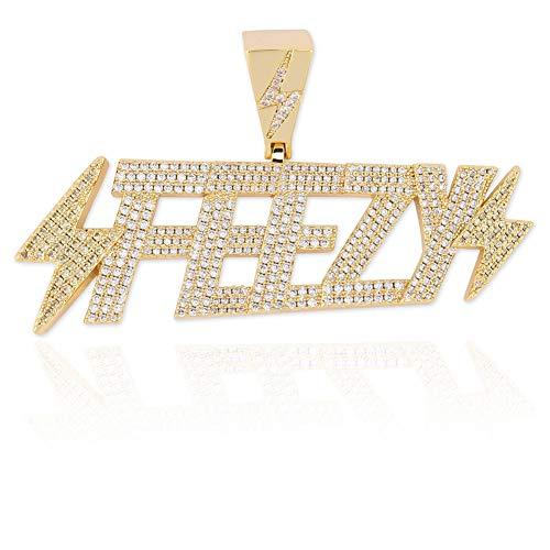 Ice Out FEEZY De Bliksem Ketting En Hanger Met Tennis Chain Cubic Zircon Heren Hip Hop Jewelry Gift