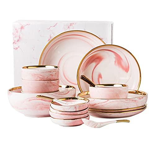 Juego de vajillas japonesas Rosa Rice Bowl Cerámica Caja de Regalo Caja de vajilla Plato Conjunto Regalos para Amigos Cubiertos Set para 2-6 Personas (Color : White(+P), Size : 18 Pieces)