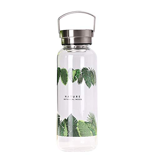 sunkey Botella Agua Cristal 500ml / 750ml / 1000ml Deporte, Reutilizable de Claro Vidrio Borosilicato Portátil Bpa Free (1000ml)