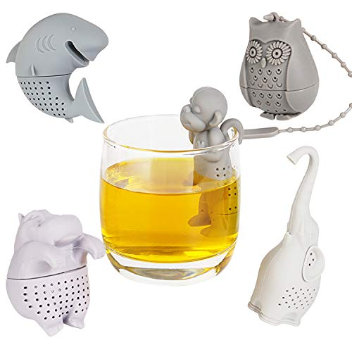 Lowest Price! Silicone Tea Infuser Set of 5,Funny Loose Leaf Strainer,Cute Filter for Tea,Coffee,Her...