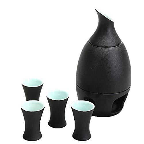 Pots à thé, Ensemble de 5 pièces, verre à vin en céramique noire avec poêle à bougie et réchauffement, texture pittoresque Sake Set for le service au chaud / froid Sake Service Meilleur cadeau for la