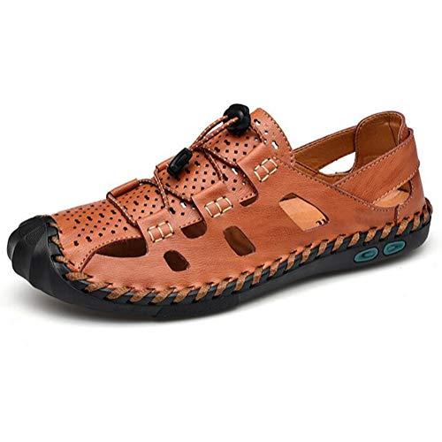 FTFDTMY Sandalias de cuero para hombre, con cordón de punta cerrada, casual, zapatos de pescador, zapatos de verano transpirables, color marrón, 42