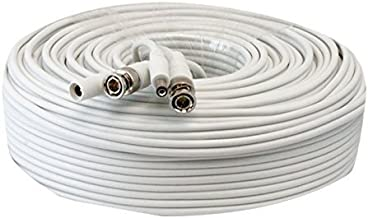 Lknewtrend 150ft RG59 Siamese Combo 20AWG Power Video Coaxial Cable BNC 75Ohm 95% Braid Wire Cord for HD-SDI, AHD, TVI, CVI All CCTV Security Cameras with BNC Connector and 2.1mm Power Jack (White)