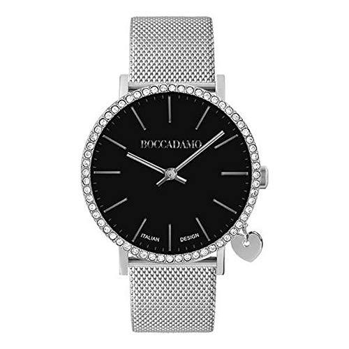 Boccadamo Reloj de mujer con cuadrante blanco, de caja de Swarovski y colgante rosado lateral; Ref.MY020