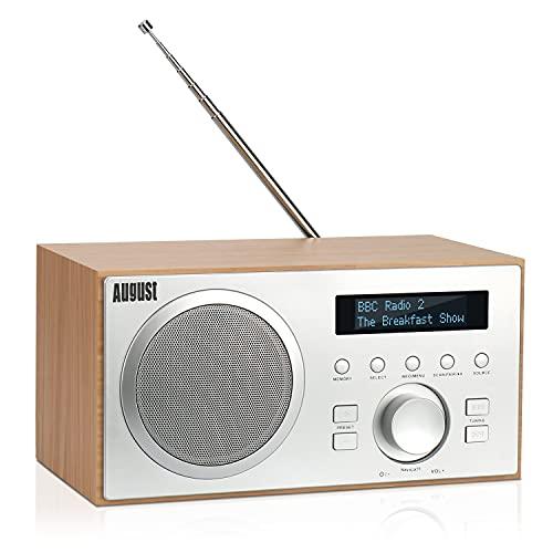 Radio Digital Dab/Dab+/FM con RDS - Bluetooth 4.2 Hi-Fi Altavoz 5W con Subwoofer - August MB420 RadioDespertador con Sintonizador Dab y FM, Radio Carcasa de Madera Lector MP3/USB, Entrada Aux 3,5mm