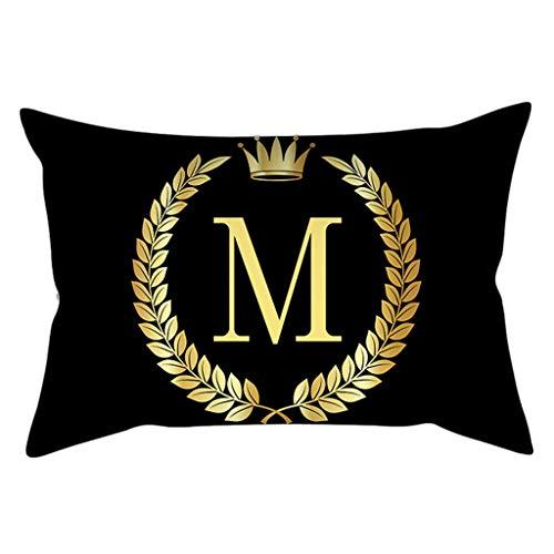 Dchaochao - Funda de almohada nórdica, diseño de letras del alfabeto, 30 x 50 cm, color negro y dorado, M#, 30x50cm