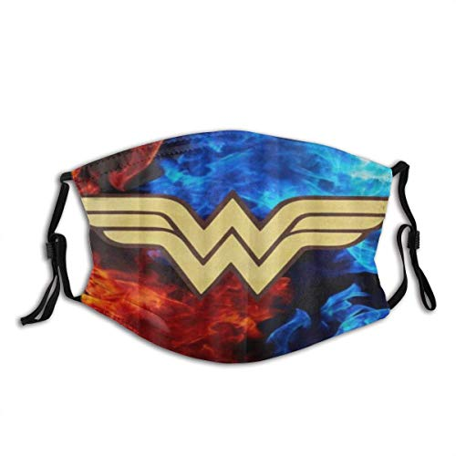 Face Cover Wonder Woman Logo Balaclava Unisex Reusable Windproof Anti-Dust Mouth Bandanas Outdoor Camping Motorcycle Running Neck Gaiter for Teen Men Women face masks washable