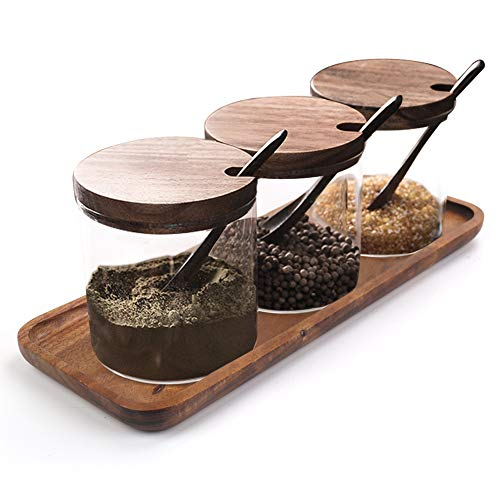 Freehawk Condiment Container Seasoning Box Set Salt Sugar Spice Pepper Condiment Container Kitchen Cruet Seasoning Pots with Bamboo Wooden Spoon Lid and Base,Set of 3(250ml Round Shape)