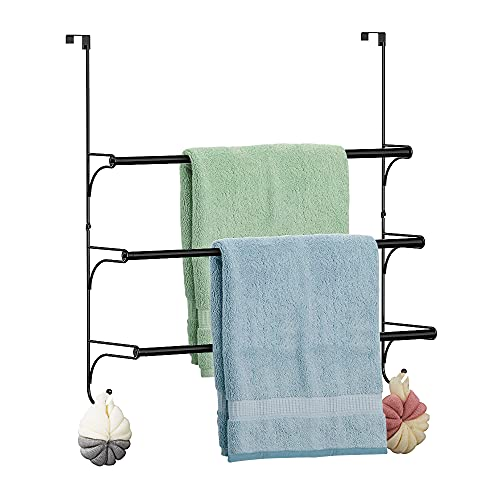 Handtuchhalter 3-Schicht Edelstahl Teleskop Tür Wand-Badetuch Aufhänge Ohne Bohren Handtuch Stange für Badezimmer Dusche, Schwarz