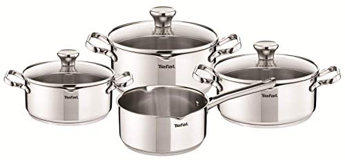 Tefal Duetto - Juego de 4 Ollas cocina: 1 Cazo cocina 16cm, 3 Cacerolas 16/20 cm, 1 Olla 24 cm de acero inoxidable, 3 tapas cristal, marcas medición, todo tipo cocinas, apto horno y lavavajillas