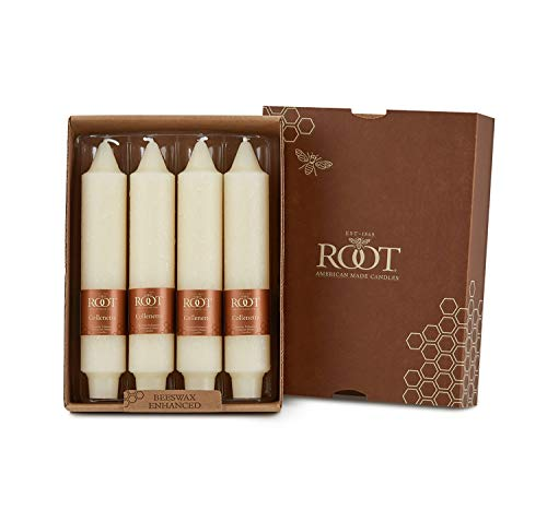 Root Unscented Timberline Collenettes Dinner Candles, 7-Inch Tall, Box of 4, Ivory
