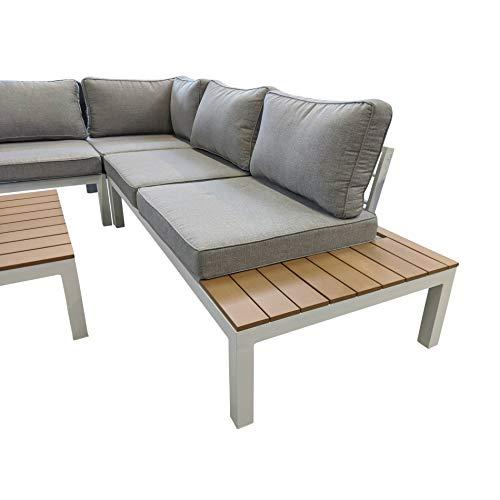 Home Islands Laos Loungeset Gartenmöbel-Set 4-teilig mit Ablagen aus Polywood, Aluminium weiß