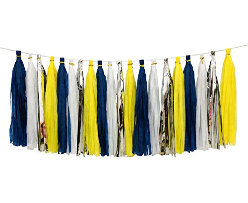 20pcs Tissue Tassel Yellow Blue Color Party Supplies,Navy Yellow White Silver Birthday Party Decorations Paper Tassel Garland for Bridal Shower Wedding School Ceremony Graduation Theme Party Supplie