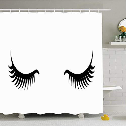 N/A Duschvorhang 182,9 x 182,9 cm Wimpern Mädchen Close Makeup Glamour Mascara Design Human...
