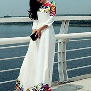 QGTDRESS Women Clothing Wear in Spring and Summer Fashion Printing Dress, Siz:S(White) (Color : White)