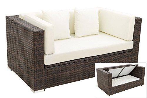 OUTFLEXX 2-Sitzer Sofa Lounge aus hochwertigem Polyrattan in braun marmoriert mit Kissenboxfunktion inkl. Kissen-Polster, Gartensofa Couch für 2 Personen, wetterfest, stabil und rostfrei,
