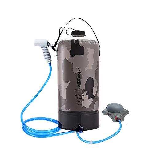 Ishine Bolsa de ducha, 10 L, ligera, portátil, para camping, con tubo de ducha, bomba de aire, bolsa de almacenamiento y correa de hombro desmontable