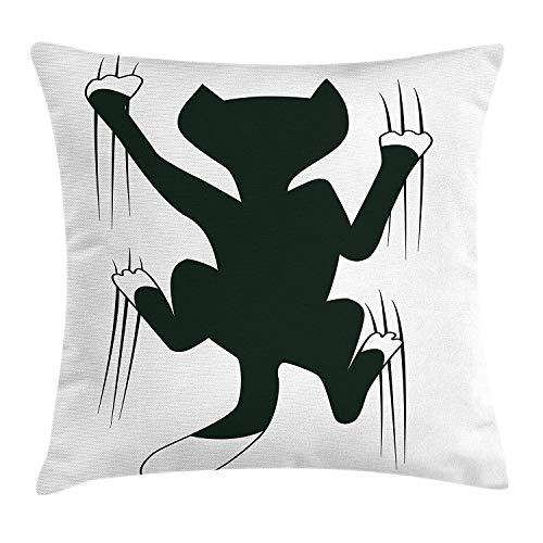 Butlerame Funda de Almohada Moderna, Gato rascando la Pared Lindo Animal Divertido Gatito Mascota Humor ilustración artística, 18 x 18 Pulgadas, Verde Oscuro Blanco