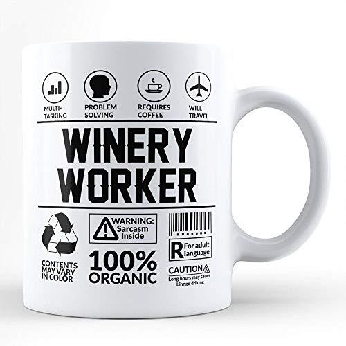N\A Lustiger Sarkasmus-Becher für bestes Weingut-Arbeiter-Geschenk/für Selbst für Freund-Kollege Mitarbeiter Kaffeeliebhaber Weingut-Arbeiter Nachbar Weißer Kaffee-Becher von HOM