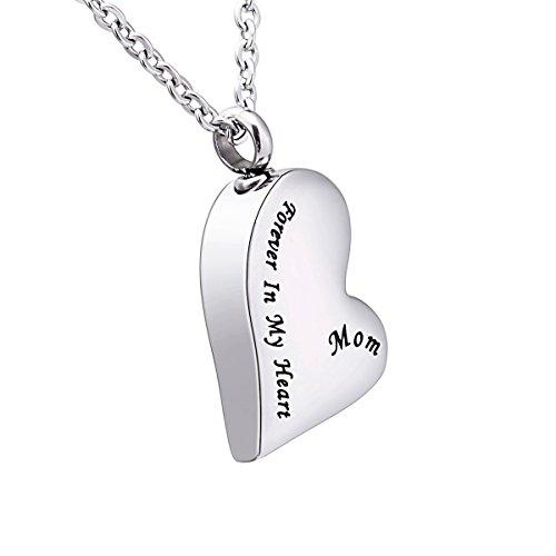 Anhänger-Gedenkurne-Halskette mit Gravur in Herz- / Tropfenform, Asche-Andenken, Verbrennung, Schmuck, edelstahl, Mom, 30mmx17mm